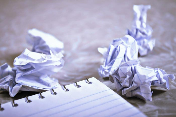 Notebook with crumpled paper