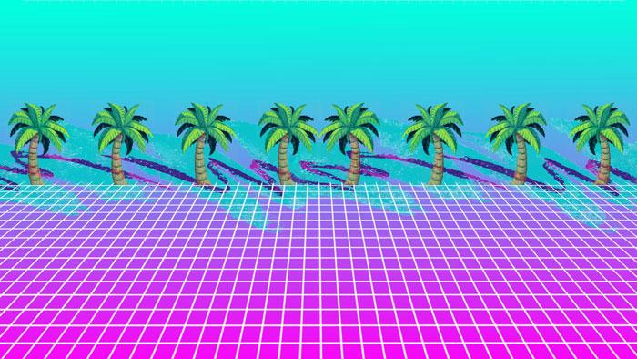 Vaporwave palm tree art